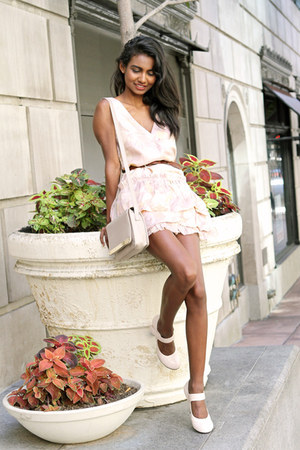 light pink floral Marc Jacobs dress - eggshell ankle strap Marc Jacobs heels