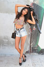 Sky-blue-denim-forever-21-shorts-bubble-gum-blossom-forever-21-swimwear