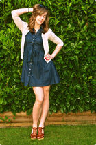 brown Steve Madden shoes - blue H&M dress - beige vintage cardigan