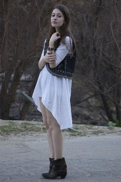 old costume vest - forever 21 dress - Dolce Vita boots