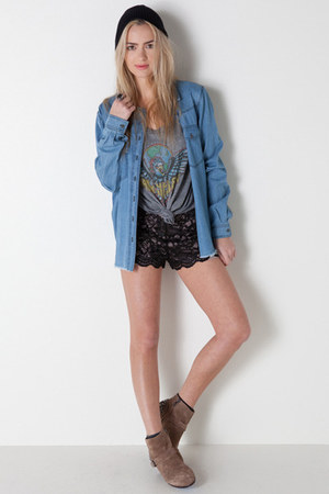lace Alexis shorts - stud booties sam edelman boots - beanie Autumn Cashmere hat