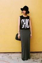 Forever 21 top - belle boots - from hong kong hat - H&M bag - Zara skirt