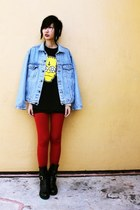 Levis jacket - staccato boots - from hong kong leggings - Heur Sheen shirt