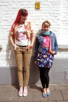 mustard leopard H&amp;M jeans - bubble gum roses vintage jacket