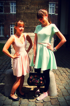 light pink Topshop dress - aquamarine H&amp;M dress - bubble gum Converse shoes