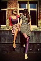 charcoal gray striped Mango dress - hot pink H&M shirt - deep purple Zara belt