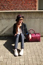 black skinny H&M jeans - off white Converse shoes - maroon H&M hat