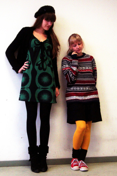 red H&M sweater - black Diesel boots - green unknown brand dress