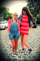 hot pink striped H&M dress - black Converse shoes - sky blue H&M jeans