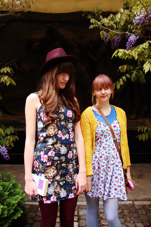 black Diesel boots - navy flower Mango dress - magenta H&amp;M hat
