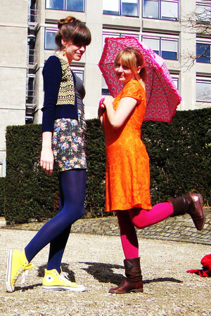 dark brown Sasha boots - carrot orange H&M dress - hot pink H&M tights