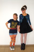 navy gorillaz shirt - black Diesel dress - light orange romwe leggings
