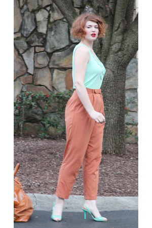 mint thrifted top - burnt orange thrifted vintage pants - mint vintage heels