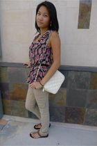 brown Mossimo pants - brown hollister shoes - white Forever 21 purse - pink Moss