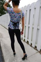 black Forever 21 tights - black Mossimo shoes - blue Urban Outfitters blouse - s