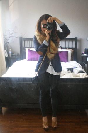 Nordstrom leggings - H&M blazer - H&M scarf - Prada bag - Jessica Simpson heels