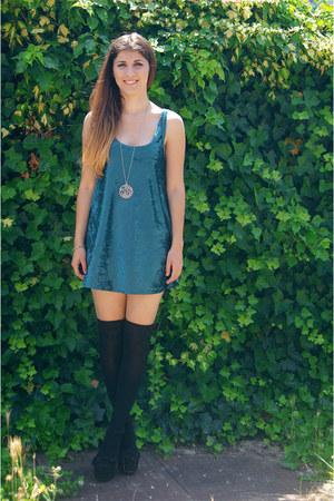 black Calzedonia socks - sky blue bubu with love dress - black moje cipele heels