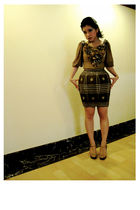 brown own design blouse - brown own design skirt - gold shoes