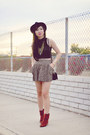 Burnt-orange-suede-vintage-boots-floral-forever-21-skirt