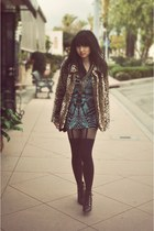black Deena & Ozzy shoes - blue Motel dress - light brown Forever 21 coat