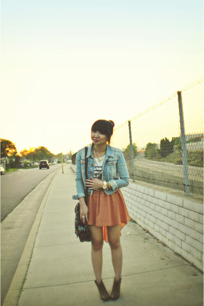 peach Audrey 31 skirt - Gap boots - denim H&M jacket