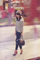 tan beanie H&M hat - ivory striped H&M sweater