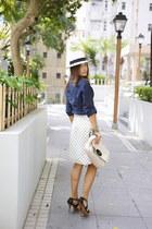 dark green Zara belt - black Uterque shoes - white Panama hat