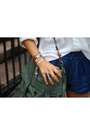 Gold-h-m-necklace-ivory-zara-shirt-teal-ps1-bag-blue-zara-shorts