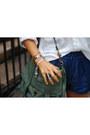 Gold-h-m-necklace-ivory-zara-shirt-teal-ps1-bag-blue-zara-shorts