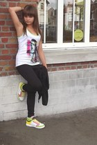 chartreuse t-shirt - bubble gum little satchel bag - black pants