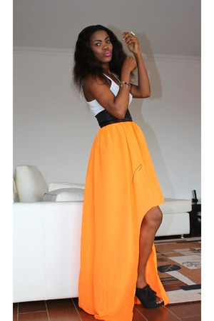 orange banded DIY skirt - white tank banana republic top - black Bamboo heels