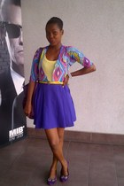 purple Topshop skirt - yellow belt - pink Gap top