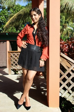 black Forever 21 skirt - burnt orange Marshalls blouse - black Annie Klein heels