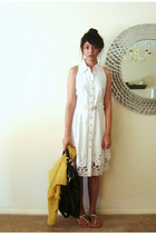 white Target sandals - black olivia & joy bag - yellow Anthropologie cardigan