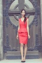 red cotton H&M dress - black Zara pumps