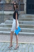 camel Mango sunglasses - sky blue H&M bag - camel Zara pumps - cream Mango skirt