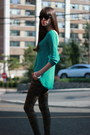 Green-zara-sweatshirt-black-juicy-couture-sunglasses-black-vera-wang-heels