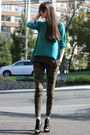 Black-juicy-couture-sunglasses-black-vera-wang-heels-green-zara-sweatshirt