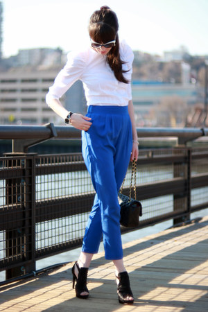 blue Aqua pants - black Chanel bag - white D&G sunglasses