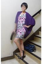purple no brand blazer - black Yongki shoes - vintage blouse - blue
