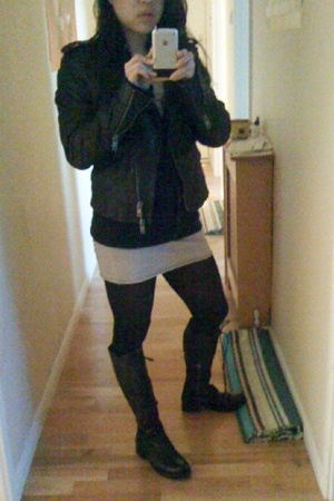 DKNY jacket - Ralph Lauren sweater - American Apparel dress - Club Monaco tights