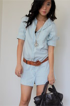 sky blue cotton on dress - dark brown balenciaga bag - tawny Kookai belt - camel