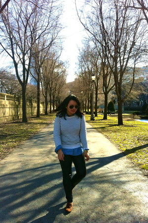 white Forever 21 sweater - sky blue JCrew shirt - black H&M pants
