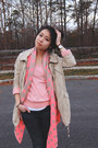 Tan-river-island-jacket-pink-loft-sweater-bubble-gum-aeropostale-scarf