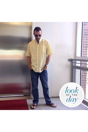 jeans - light yellow shirt - Ray Ban sunglasses