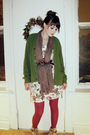 Green-cardigan-pink-stockings-beige-boots-white-dress-gray-scarf-brown