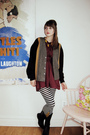 Red-thrifted-dress-black-hand-me-down-from-mom-tights-black-thrifted-boots-