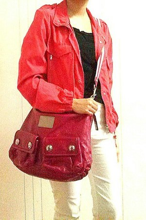 salmon Bershka jacket - hot pink leather coach bag - black top - white MNA pants