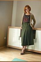 wool vintage skirt - cotton Orsay shirt - leather jegerstar heels