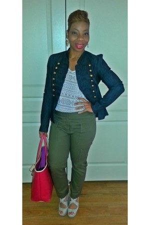 navy Forever 21 blazer - camel Target shoes - off white H&M shirt